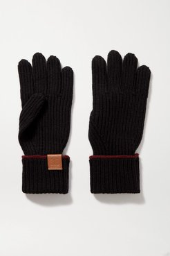 Leather-trimmed Ribbed Wool Gloves - Black
