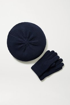 Cashmere Beret And Gloves Set - Navy