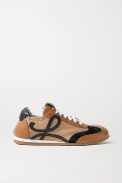 Ballet Runner Shell, Suede And Leather Sneakers - Tan