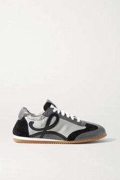 Ballet Runner Shell, Suede And Leather Sneakers - Gray