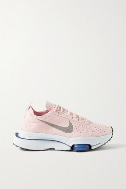 Air Zoom-type Rubber-trimmed Suede Sneakers - Blush