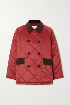 Alexachung Delia Corduroy-trimmed Quilted Cotton-shell Jacket - Red
