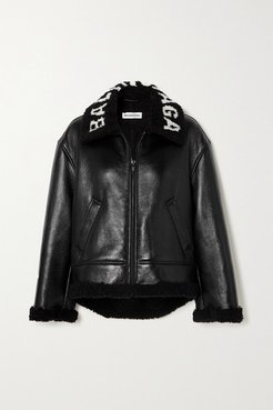 Cropped Faux Shearling-lined Leather Jacket - Black