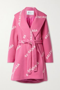 Oversized Belted Printed Wool, Cashmere And Silk-blend Coat - Bubblegum