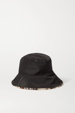Addison Reversible Shell And Leopard-print Faux Fur Bucket Hat - Black