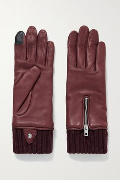 Alpaca-lined Leather Gloves - Burgundy