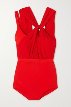 Layered Twist-front Crepe And Stretch-jersey Bodysuit