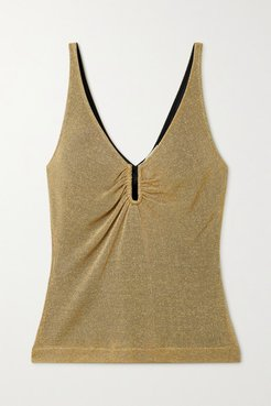 Gathered Metallic Knitted Camisole - Gold
