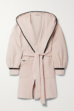Hooded Belted Velour-trimmed Cotton-terry Robe - Blush