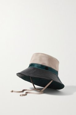 Angele Paneled Leather, Shell And Twill Bucket Hat - Cream