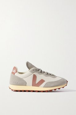 Net Sustain Rio Branco Leather-trimmed Suede And Mesh Sneakers - White