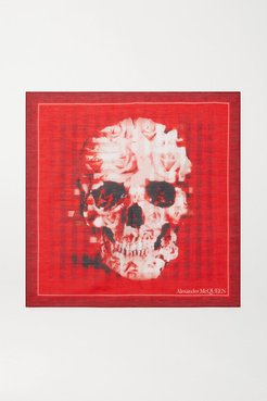 Printed Cotton And Silk-blend Scarf - Red
