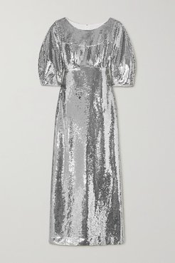 Alessia Sequined Crepe Gown - Silver