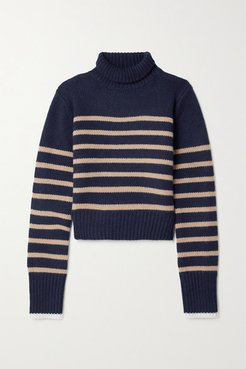 Mini Marin Striped Wool And Cashmere-blend Turtleneck Sweater - Navy