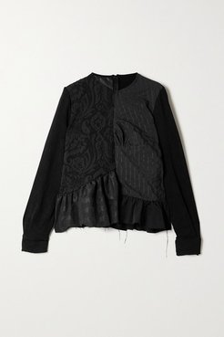Net Sustain Rem'ade By Marques' Almeida Oversized Jacquard And Seersucker Blouse - Black