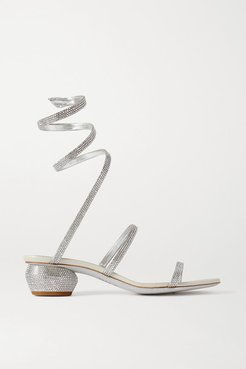 Cleo Crystal-embellished Metallic Leather Sandals - Silver