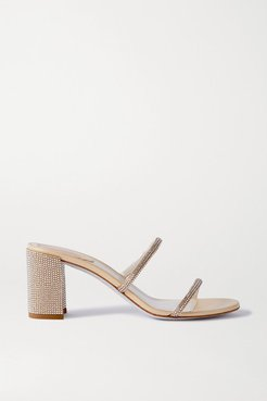 Bessie Crystal-embellished Metallic Leather Sandals - Neutral