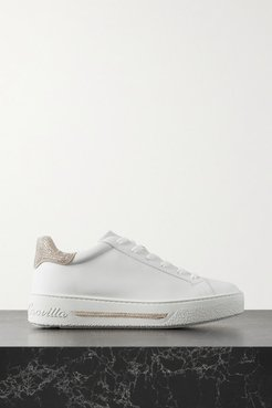 Crystal-embellished Leather Sneakers - White
