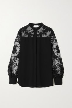 Lace-trimmed Silk-georgette Blouse - Black