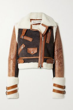 Cropped Shearling, Suede And Textured-leather Jacket - Brown