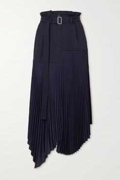 Belted Asymmetric Pleated Crepe And Wool Midi Skirt - Navy