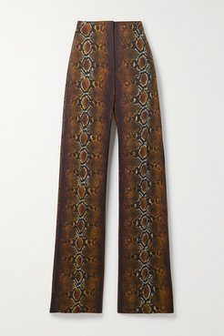 Embellished Snake-print Crepe Wide-leg Pants - Brown