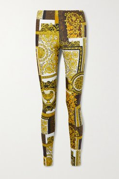 Barocco Printed Stretch-jersey Leggings - Brown