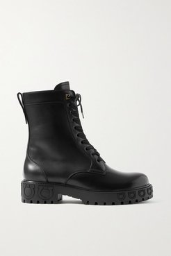 Chopper Leather Ankle Boots - Black