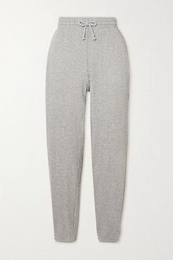 Net Sustain Ribbed Organic Cotton-fleece Track Pants - Gray