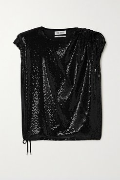 Draped Sequined Jersey Top - Black
