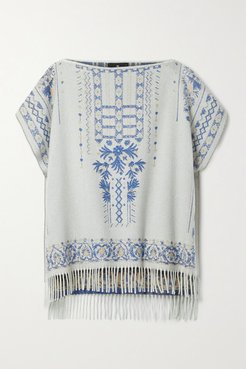 Fringed Cashmere And Wool-blend Jacquard Poncho - White