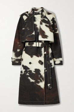 Leanna Double-breasted Cow-print Linen And Cotton-blend Trench Coat - White