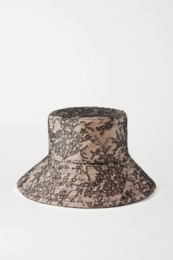 Lace And Canvas Bucket Hat - Beige