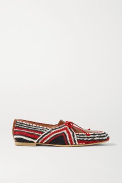 Hays Crocheted Cotton And Croc-effect Leather Loafers - Red
