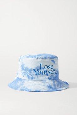 Peter Saville Printed Tie-dyed Cotton-canvas Bucket Hat - Blue