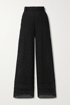 Brigid Broderie Anglaise Cotton Wide-leg Pants - Black