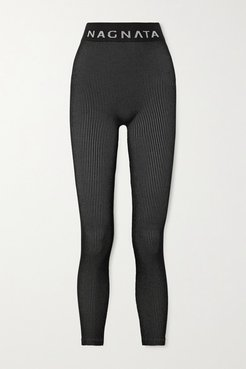 Space For Giants Laya Ribbed Technical Stretch-knit Leggings - Black
