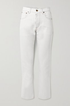 Cropped High-rise Boyfriend Jeans - Off-white