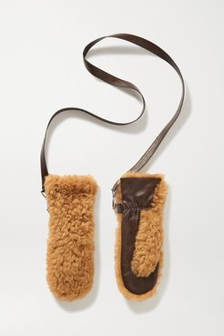 Shearling And Leather Mittens - Camel