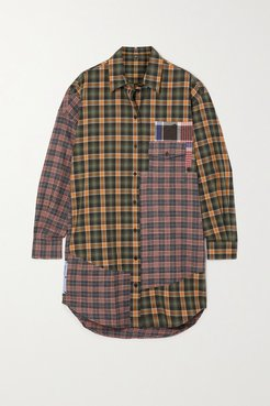 End Of Line Oversized Checked Cotton Mini Shirt Dress - Green