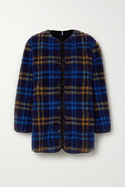 Reversible Apppliquéd Checked Fleece And Quilted Shell Jacket - Blue