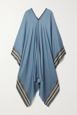 The Suitcase Stripe Silk And Cashmere-blend Poncho - Blue