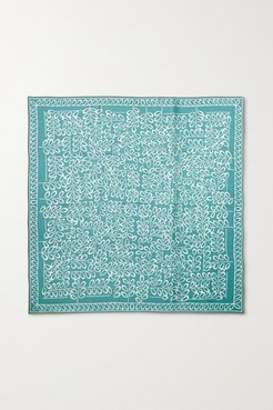 Printed Cashmere And Silk-blend Twill Scarf - Turquoise