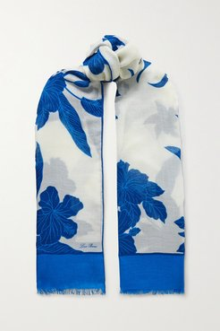 Frayed Floral-print Cashmere And Silk-blend Scarf - Ivory