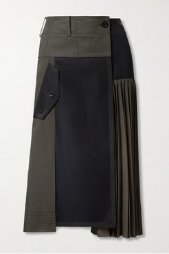 Paneled Pleated Grosgrain-trimmed Cotton-blend Twill And Wool Midi Skirt - Gray green