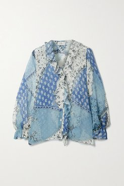 Ruffled Patchwork Printed Silk-crepon Blouse - Light blue