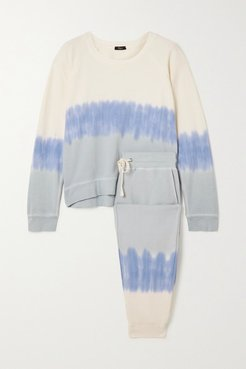 Theo Oakland Tie-dyed Cotton And Modal-blend Jersey Sweatshirt And Track Pants Set - Blue