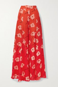 Floral-print Silk-georgette Wide-leg Pants - Orange