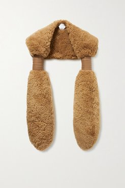 Padded Leather-trimmed Shearling Stole - Camel