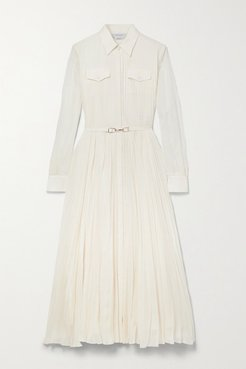 Erella Belted Pleated Cotton And Silk-blend Shirt Dress - Ivory